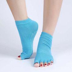 Half Toe Yoga Socks Anti-Slip Open Half Five Fingers Cotton Yoga Socks