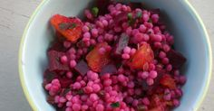 A Bushel of What?: Israeli Couscous with Beets, Garlic Scapes, and Orange