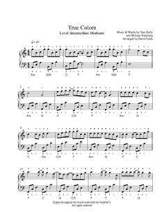 True Colors by Cyndi Lauper Piano Sheet Music   Intermediate Level