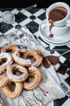 ... churros with chocolate sauce ...
