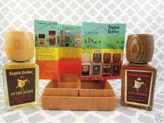 Vintage-English-Leather-2-Bottle-Gift-Set-After-Shave-Cologne-Box-Wood-Lids-USA