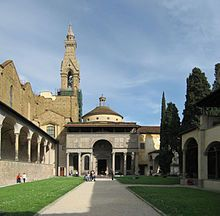 "Pazzi Chapel and the cloister.  The Pazzi Chapel (Italian: Cappella dei Pazzi) is a religious building in Florence, central Italy, considered to be one of the masterpieces of Renaissance architecture. It is located in the ""first cloister"" of the Basilica di Santa Croce."