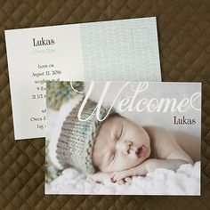 "Welcome Post Card - Birth Announcement   Allow your loved ones to welcome your new baby and all the cuteness he/she brings!  Dimensions: 5 1/2"" x 4"" Card• Price Includes: Printing on front and back of announcement postcard. • Production Time: 3 Working Days  •Photo(s) will be printed as submitted"