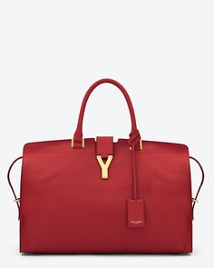 Saint Laurent Large Cabas Y In Red Leather
