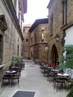 """Poble Espanyol"" famous attraction in Barcelona - Montjuic - Catalonia."