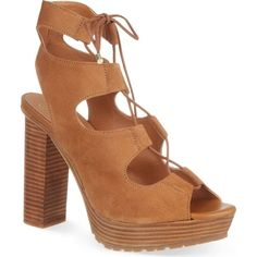 KG KURT GEIGER Henna lace up sandals ($180) ❤ liked on Polyvore featuring shoes, sandals, tan, tan sandals, high heel sandals, open toe high heel sandals, wooden platform sandals and wood platform sandals