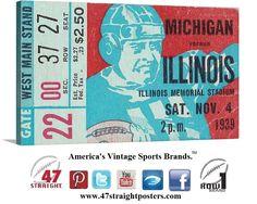 #Football art from 1939. #Michigan #Wolverines vs. #Illinois #FightingIllini #Illini #collegefootball #sportsart #47straight #vintage #gifts #giftideas #BlackFriday #CyberMonday