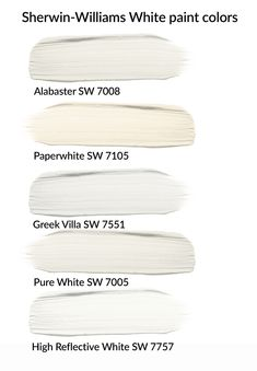 White paint colors Sherwin-Williams, Alabaster SW choose a no-fail white paint for your DIY project, favorite white paint colors Indoor Paint Colors, Cream Paint Colors, Greige Paint Colors, Neutral Paint Colors, Bedroom Paint Colors, Interior Paint Colors, Paint Colors For Home, Cabin Paint Colors, Off White Paint Colors