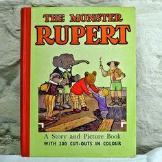 1950 Monster Rupert Book Childrens Book Rupert by FeltersCottage