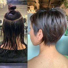 Bob Hairstyles For Fine Hair, Haircut For Thick Hair, Pixie Hairstyles, Pixie Haircut, Short Hairstyles For Women, Asymmetrical Bob Haircuts, Long Thin Hair, Short Hair Cuts, Hair Trends