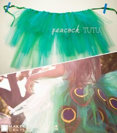Peacock Tutu   Enjoy the attention this piece will get by recreating your own this Halloween season!   Maker Crate #tutu #halloween #kidscostumes