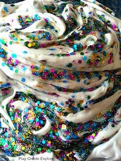 New Year's Eve confetti and glitter paint found at Play Create Explore