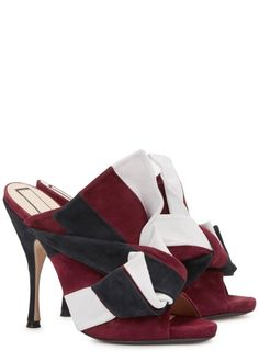 N°21 burgundy, black and grey suede mules  Heel measures approximately 5 inches/ 120mm  Knotted front, open toe  Slip on