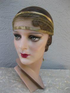 1920s Flapper Art Deco Gold Lame Tulle Headband Headpiece Bandeau  Daisy Buchanan  The Great Gatsby. $295.00, via Etsy.