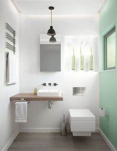 Kohler Cloakroom - simple clean lines Kohler Bathroom, Small Bathroom, Bathroom Ideas, Bathrooms, British Bathroom, Typical British, Double Vanity, Space Saving, Interior Inspiration