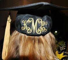 embroidered monogrammed graduation cap