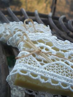 Cute idea for wedding favors...50 Wedding Favors/ all natural Soaps Wrapped in Lace / by sofiart, $75.00