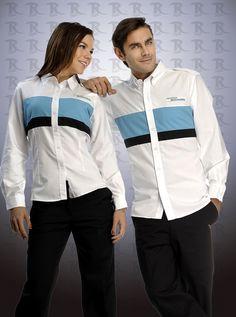 Uniforme corporativo mixto con logo bordado de la empresa de dos piezas http://www.creacionesred.com.mx/