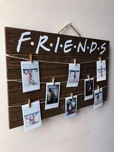 Freunde-TV-Show-Holz-Bild / Polaroid-Display mit Clips
