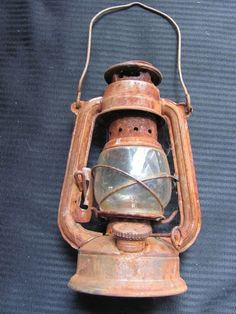 Old Rusted Antique Railroad Camping Oil Lantern