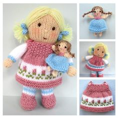 DOLLY ROSE and tiny doll  knitting pattern  Pdf por dollytime