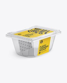 Transparent Plastic Container Mockup - Half Side View