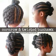 Beautifully Curled: Cornrow & Twisted Bunhawk   Quick + Simple Protective Style