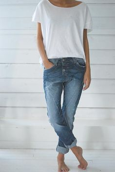 Boyfriend jeans and white tee