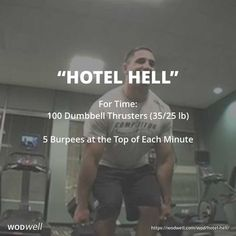 "The ""Hotel Hell"" workout, made popular via YouTube 7 years ago tomorrow, March 27, 2011, featuring CrossFit Games athlete, Jason Khalipa, demonstrates a great workout you can do in your hotel, with just a pair of dumbbells."
