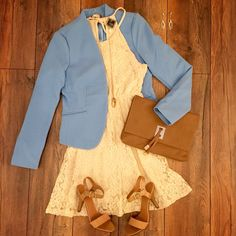 """Get your morning started with this chic #ootd  """"Braided Lace Dress"""" ($41.50) """"Class Act Blazer Blue"""" ($34.99) both available at #Tria. Paired with the """"Ankle Strap Heels Tan"""" ($28.99) and """"Classic Flap Clutch"""" ($22.99) all items available online at www.sophieandtrey.com #sophieandtrey #classy #blazer #businesscasual #spring #outfitinspo"""