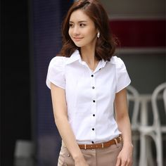 Promoción envío gratis mujeres de manga corta 100% algodón camisa del uniforme…