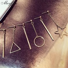 3 Styles Gold/Silver Long Earrings for Women Boucle d'oreille Fashion Geometric Star Earring Bijoux Jewelry Brincos Pendientes