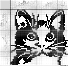 New Crochet Cat Face Cross Stitch Ideas Filet Crochet Charts, Knitting Charts, Cross Stitch Charts, Knitting Stitches, Cross Stitch Designs, Cross Stitch Patterns, Cross Stitching, Cross Stitch Embroidery, Graph Design