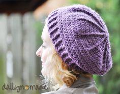 Slouchy Purple Crochet Beret Women's Hat Boho Winter by dallynmade