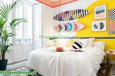 Colorful Bedroom Designs & Ideas Arty Bedroom, Home Decor Bedroom, Bedroom Ideas, Bedroom Makeovers, Kids Bedroom, Master Bedroom, Feature Wall Bedroom, Bedroom Wall Colors, Contemporary Bedroom