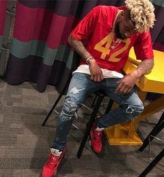 "Instagram media by upscalehype - #OdellBeckhamJr @obj wears a #RenzoCardoni #BoyzNTheHood ""Ricky"" jersey, #Amiri jeans and #AirJordan sneakers. Go to UpscaleHype.com for more info and pics."
