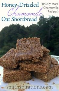 Honey-Drizzled Chamomile Oat Shortbread, Plus 7 More Chamomile Recipes. This is a delicious cookie to enjoy in the afternoon or evening! Real Food Recipes, Baking Recipes, Dessert Recipes, Dessert For Dinner, Dessert Bars, Chamomile Recipes, Cooking Herbs, Homemade Desserts, Yummy Cookies
