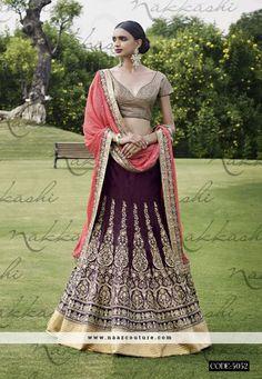 Bhagalpuri Silk Wine Color A Line Lehenga Choli
