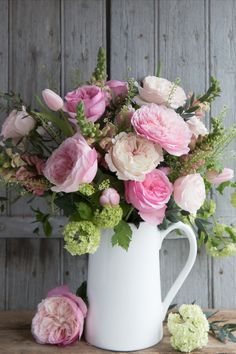 Keira (Ausboxer) and Constance (Austruss) roses by David Austin Wedding & Event Roses. Keira and Constance revealing their many shades of pink petals as well as their wonderful fragrance as their blooms open. Simply displayed in a white jug. David Austin Roses, Pink Petals, Georgian, Blush Pink, Wedding Events, Beautiful Flowers, Wedding Flowers, Floral Wreath, Fragrance