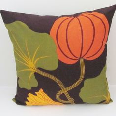 Marimekko Kumina pillow cover for Thanksgiving/Halloween decor.  Pumpkin pillow cover.  Marimekko Kumina design features an autumn harvest of pumpkins, zucchinis and squash flowers in warm, fall earth tones. https://www.etsy.com/listing/205067305/pumpkin-marimekko-pillow-cover-halloween?ref=shop_home_active_12