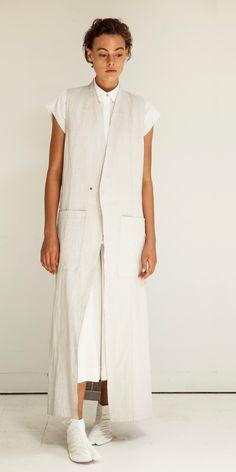 Look 2: Astro Extended Cap Shirt in White // Oki Mega Culotte in Sake // Sensei Duster Sleeveless Coat in White/Linen