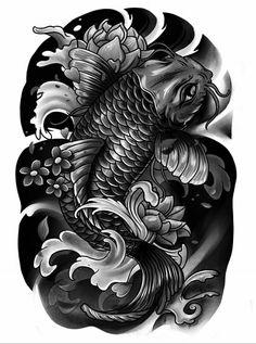 Japanese Warrior Tattoo, Japanese Koi Fish Tattoo, Japanese Tattoos For Men, Koi Fish Drawing, Japanese Sleeve Tattoos, Koi Tattoo Sleeve, Black Sleeve Tattoo, Henna Tattoo Hand, Best Sleeve Tattoos