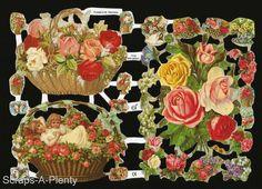 German Victorian Style Embossed Scrap Die Cut- Flowers, Baskets, Children EF7098