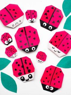make origami ladybug valentines- super cute bug themed Valentine's day craft #origami #kidscrafts #valentines