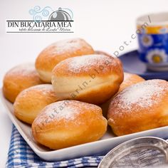 From my kitchen: fluffy Donuts Romanian Desserts, Romanian Food, Romanian Recipes, Beignets, Food Wishes, Good Food, Yummy Food, Sicilian Recipes, Sweet Pastries