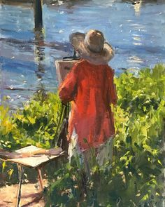 """Roger Dellar on Instagram: """"Yesterday I was painting at Teddington Lock with the Wapping Group Lou was my model until water was around her ankles 12 x9 Oil Available…"""" Painters, Oil, Group, Water, Instagram, Gripe Water, Butter"""