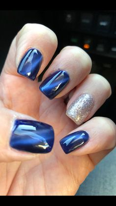 Gorgeous blue cat eye gel polish ❤️