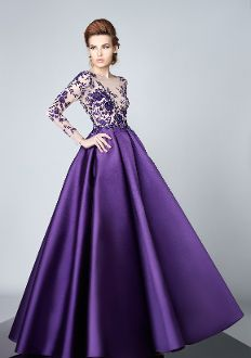 Divina by Edward Arsouni Purple Long Sleeve Ball Gown FW0086 Schöne Dinge 9974e6dfeda6