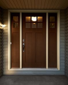 craftsman style front door - wider trim though Craftsman Style Front Doors, Craftsman Door, Wood Front Doors, Craftsman House Plans, Craftsman Homes, Entry Doors, Entrance, Home Building Design, Building A House