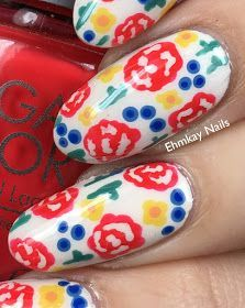 Handpainted Floral Spring Nail Art – Michelle K - Nails Desing Spring Nail Art, Spring Nails, Fall Nails, Blue Flowers, Red Roses, Jessica Cosmetics, Ten Nails, Nail Blog, Funky Nails
